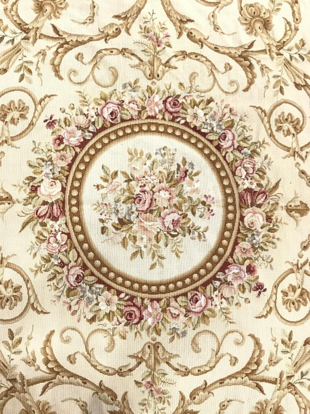 Handmade Floral Detailed Needlepoint Rug