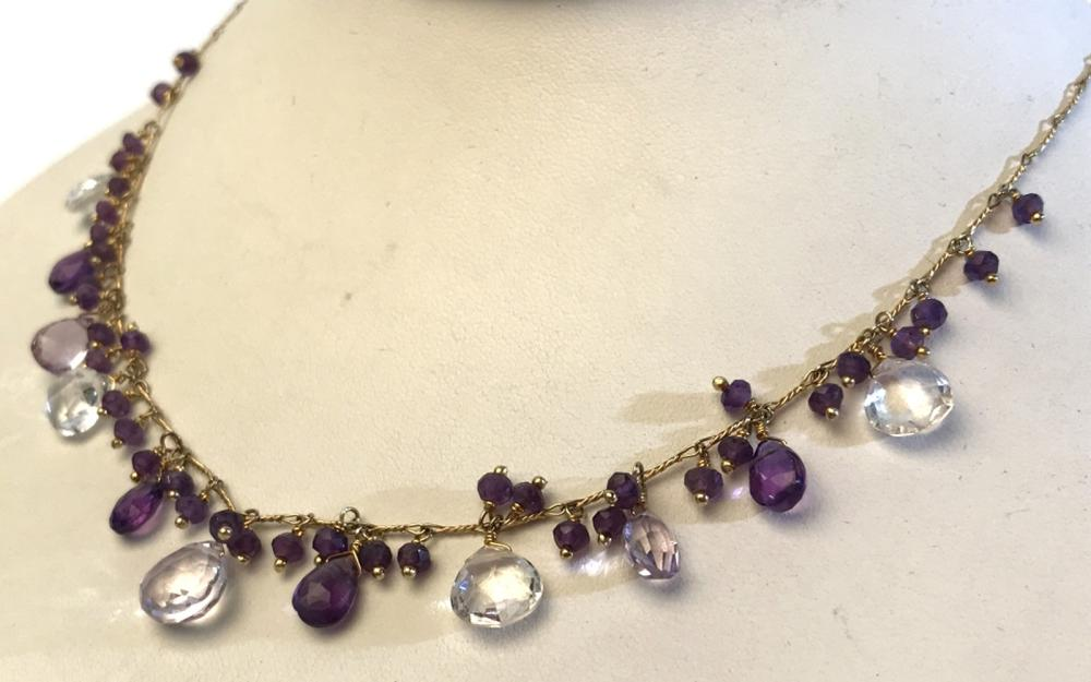Gold-Washed Sterling Necklace W Amethysts & Spinel