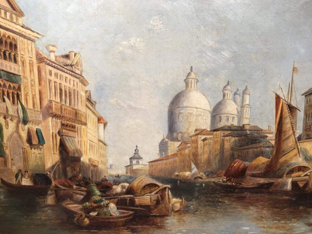 Framed Oil Painting on Canvas, Venice Canal