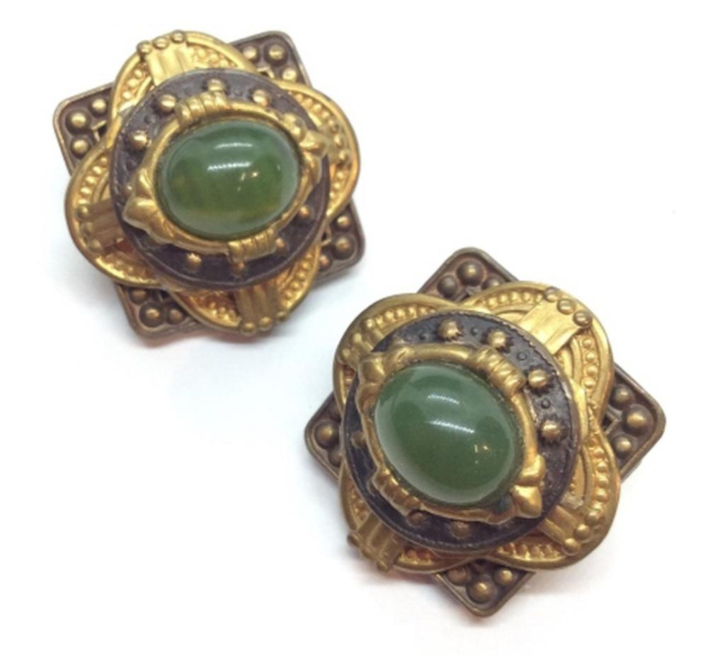 Vintage Metal And Cabochons Ear Clips