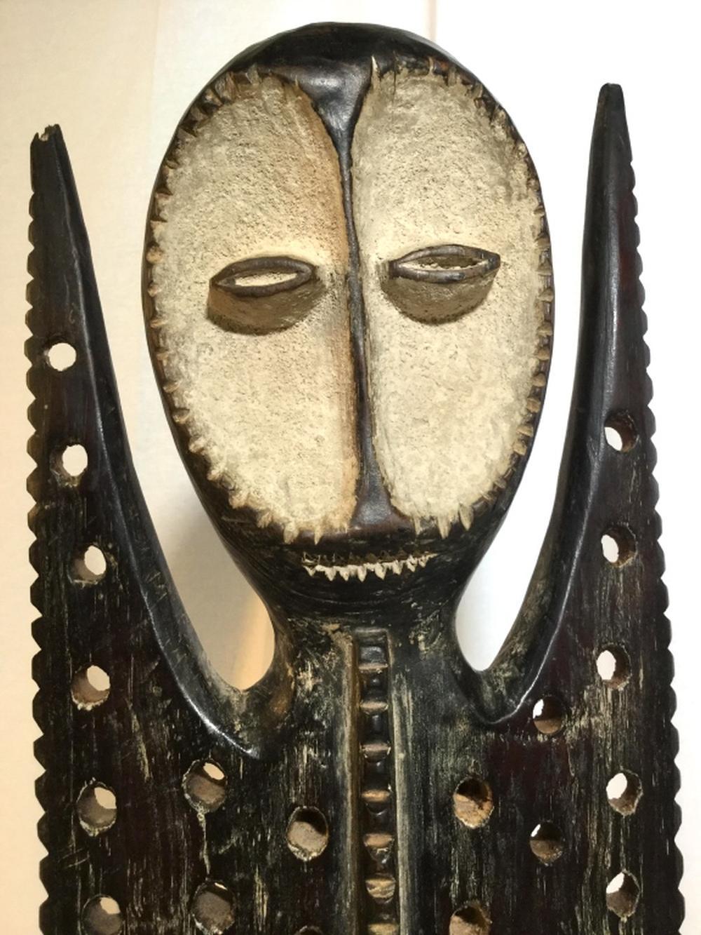 African Art Lega Tribe Pierced Wood Sculpture