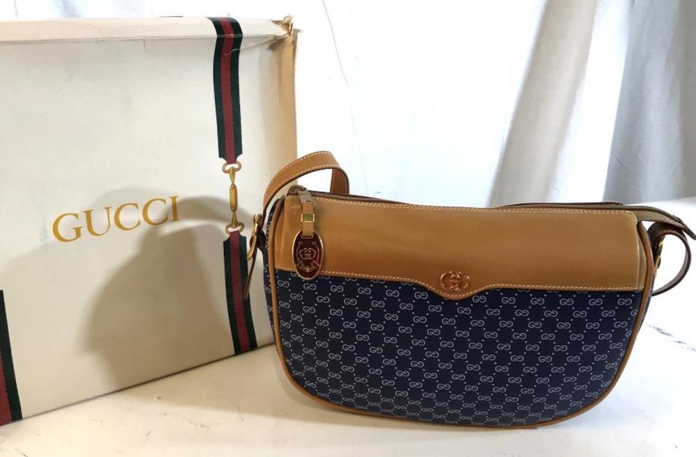 LABLED FOR GUCCI blue monogrammed shoulder bag
