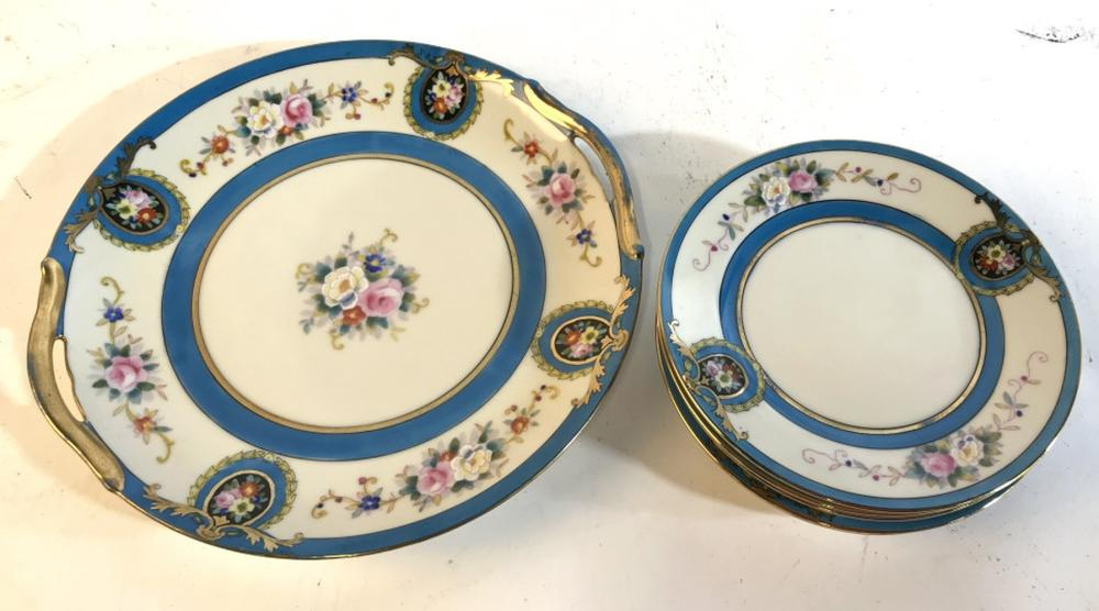 Set 6 Handpainted porcelain plates and tray
