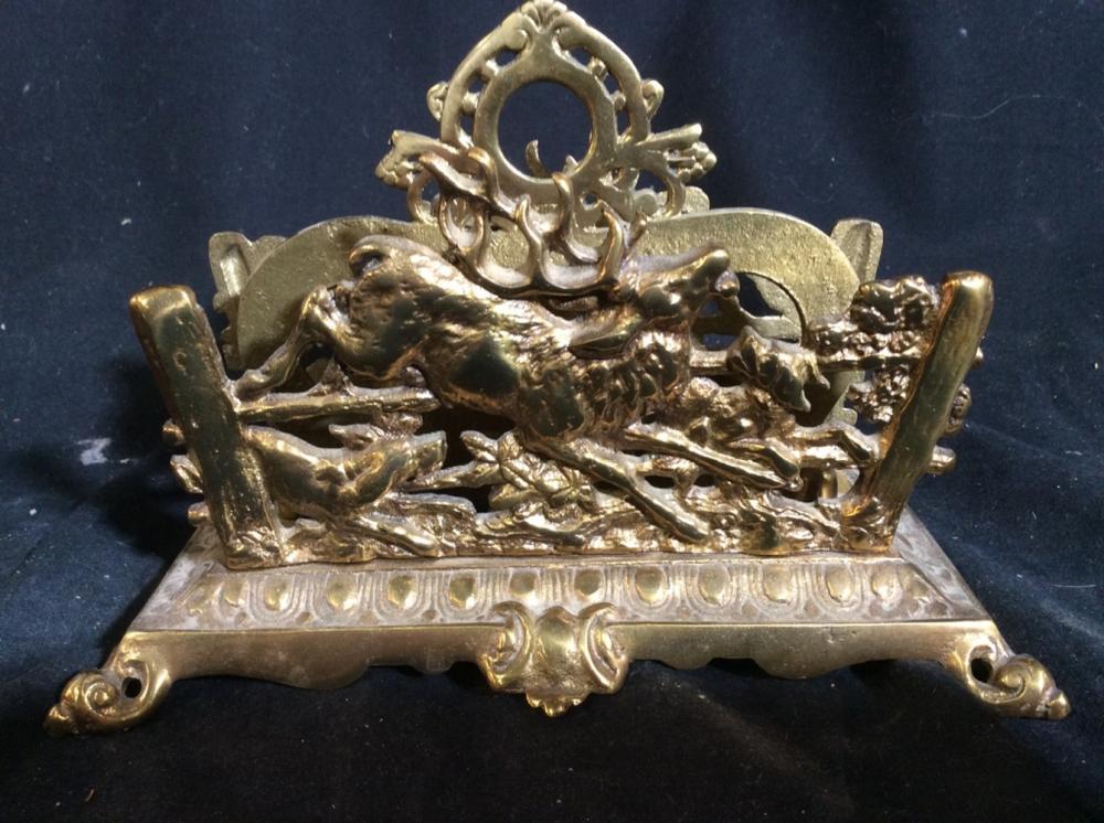 Gold Toned Ornately Detailed Brass Napkin Holder