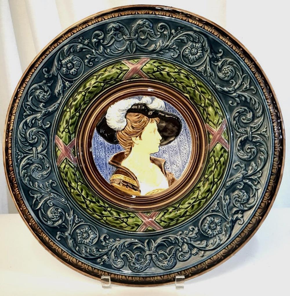 Pair Italian Majolica Plates W Portrait Motifs