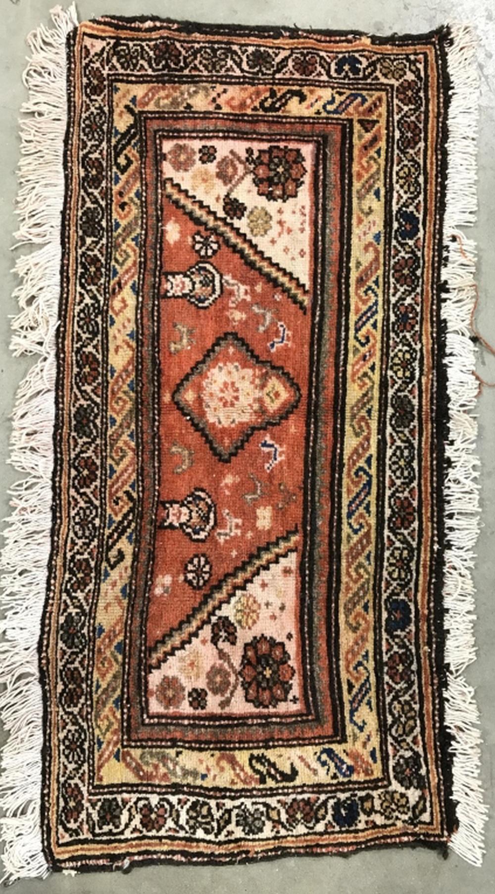 Vintage Floral Detailed Handmade Wool Rug