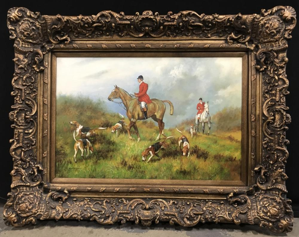 Signed ROBINSON Oil on Canvas in Stately Frame