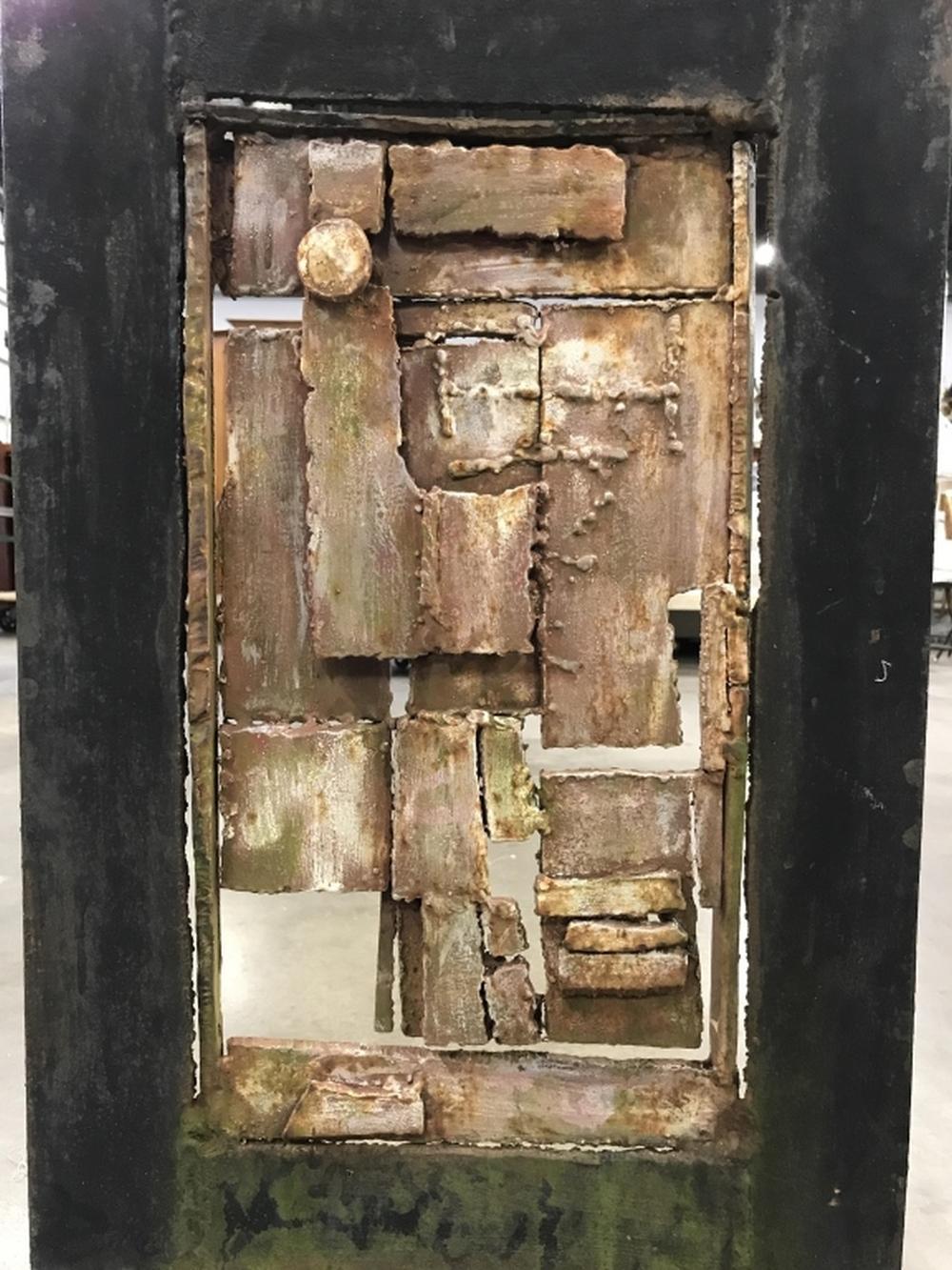 Standing Modernist Abstract Iron Metal Sculpture
