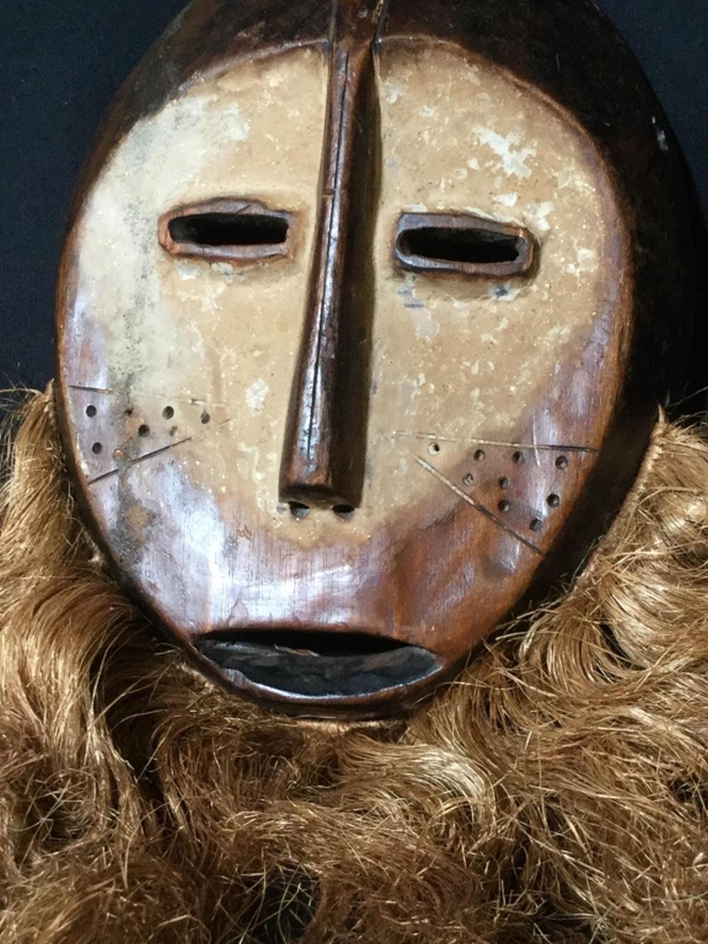 African Art Lega Tribe Wedding Mask & Figural