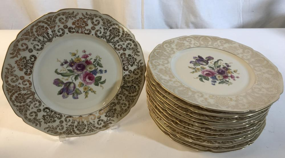Set 12 porcelain floral plates