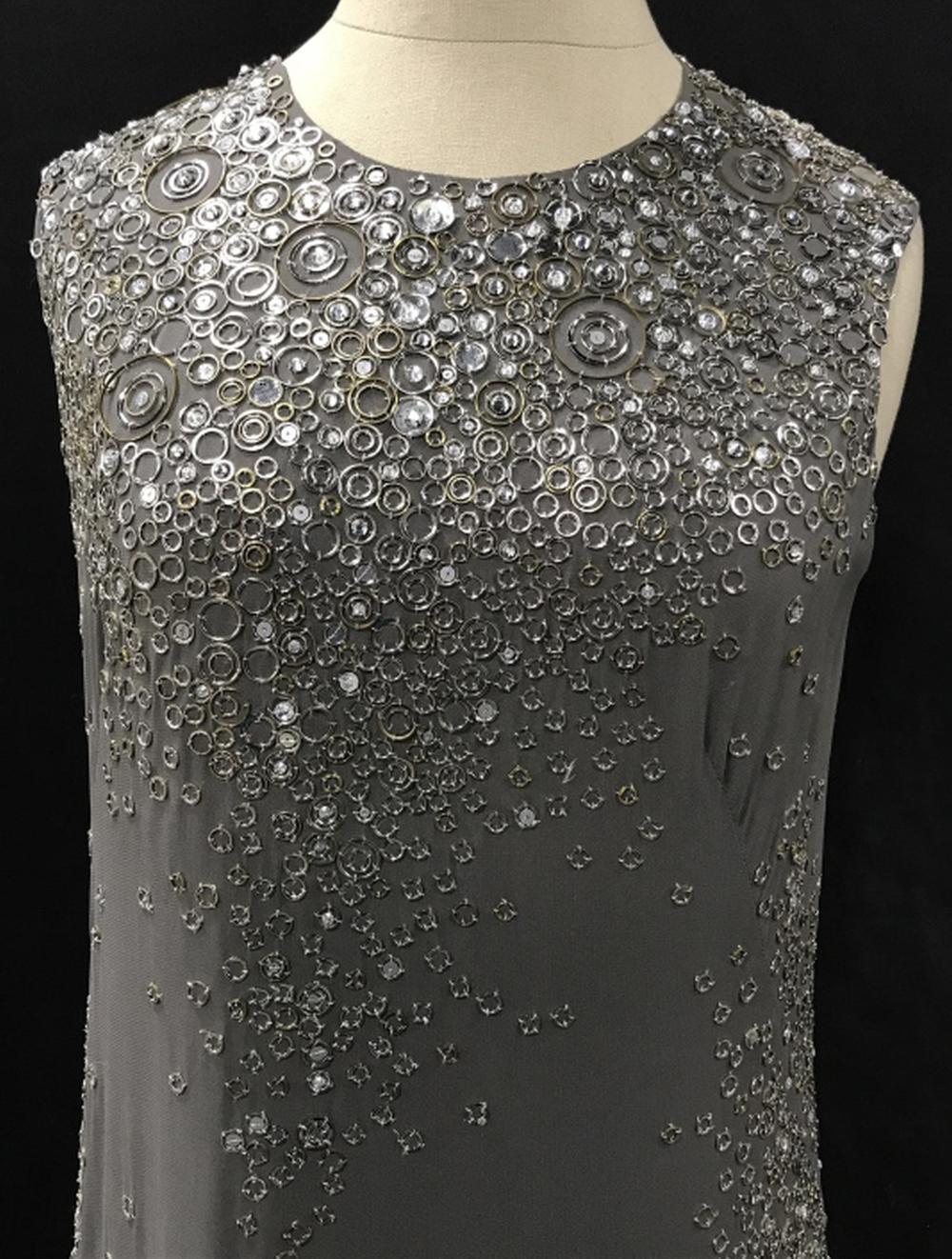 KAUFMANFRANCO Crystal & Beaded Silk Cocktail Dress