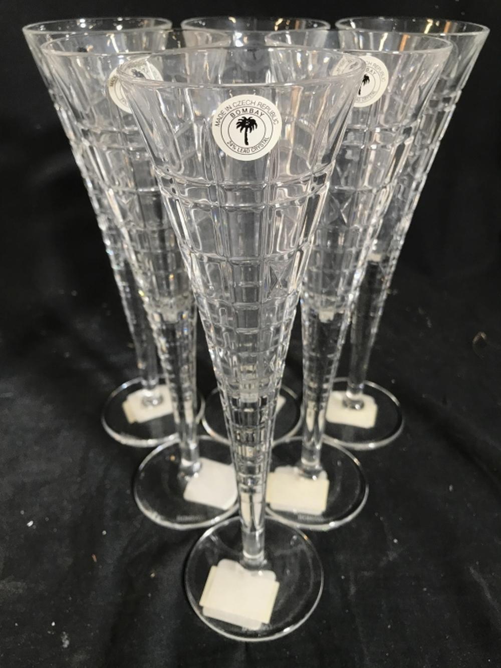 Lot 7 BOMBAY Czech Crystal Champagne Flutes