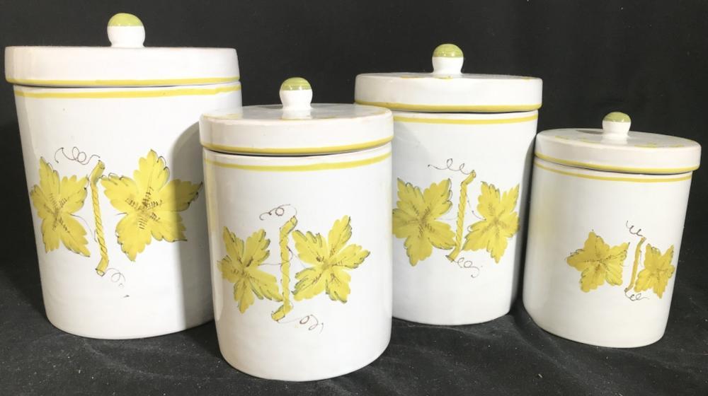 Lot 4 ITALIAN Porcelain Jars W Lids