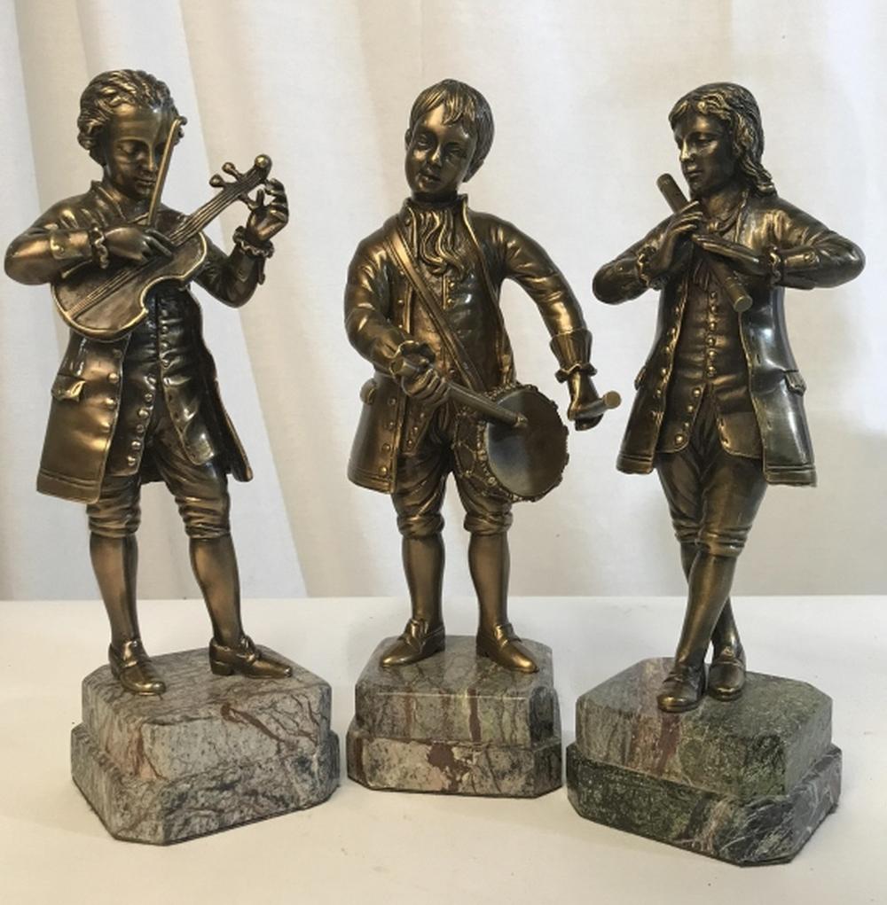 Set 3 Bronze Figurines on Stone Bases, Musicians