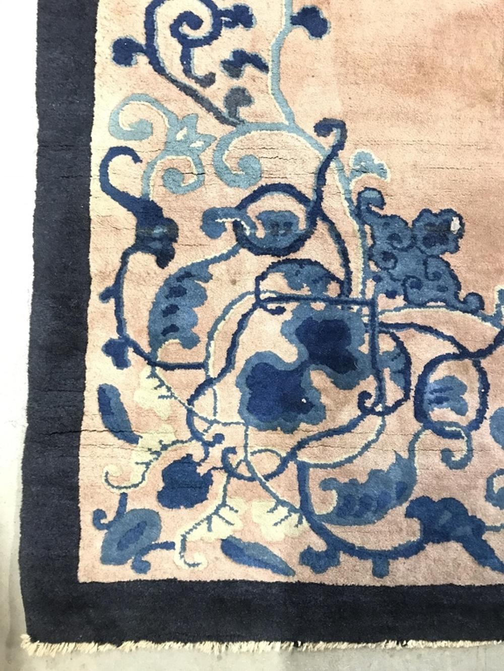 Vintage Chinese Art Deco Wool Pile Handmade Rug