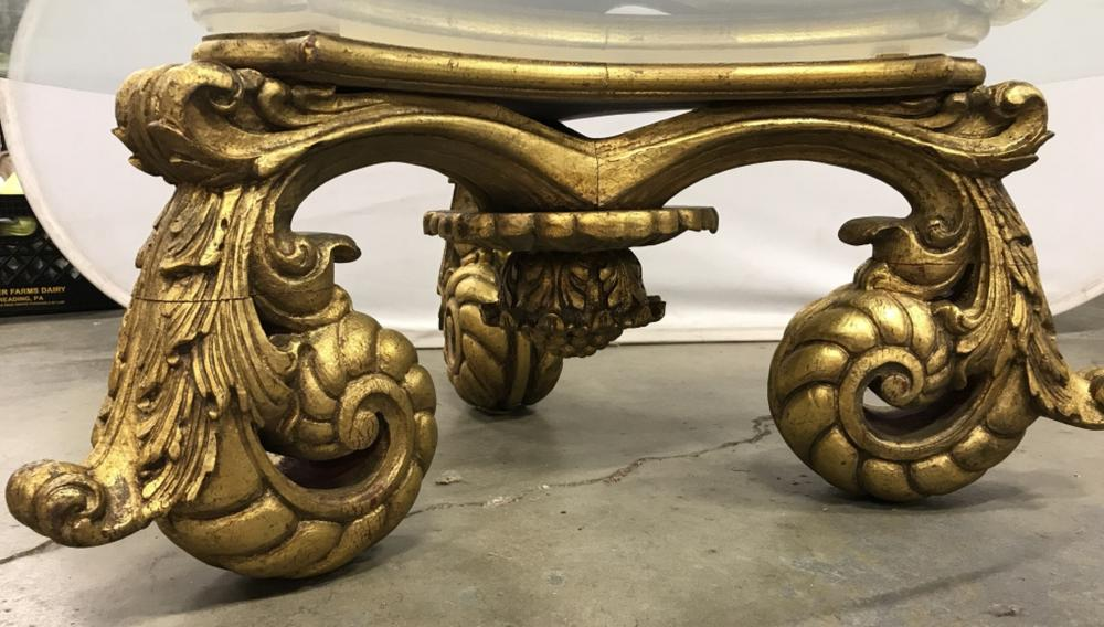 Francisco Hurtado Gilt Wood W GlassTop Table