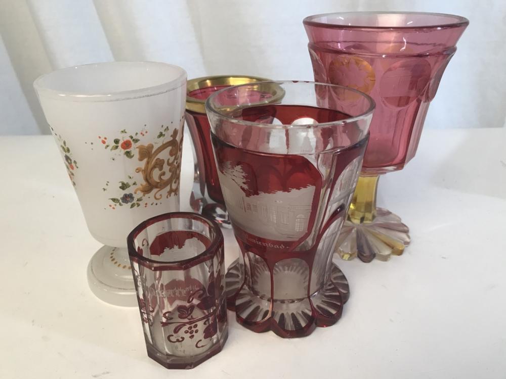 Lot 5 Mixed Vintage Etched Cranberry Glasses