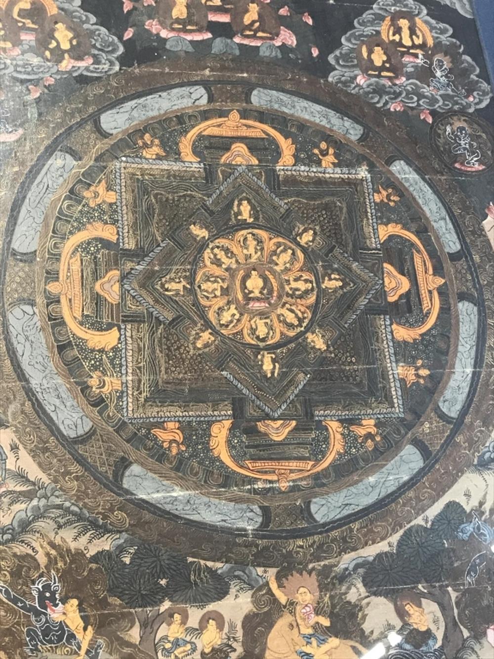 Framed Buddhist Mandala Thangka Style Painting