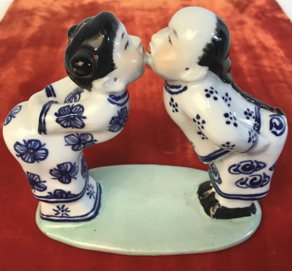 Asian Porcelain Figurine Of Kissing Figures