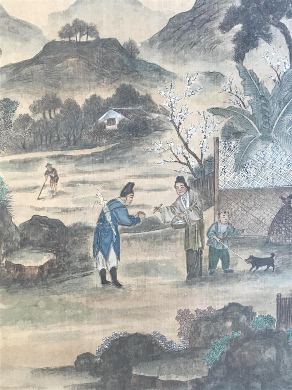 Pair Framed Asian Paintings On Textile
