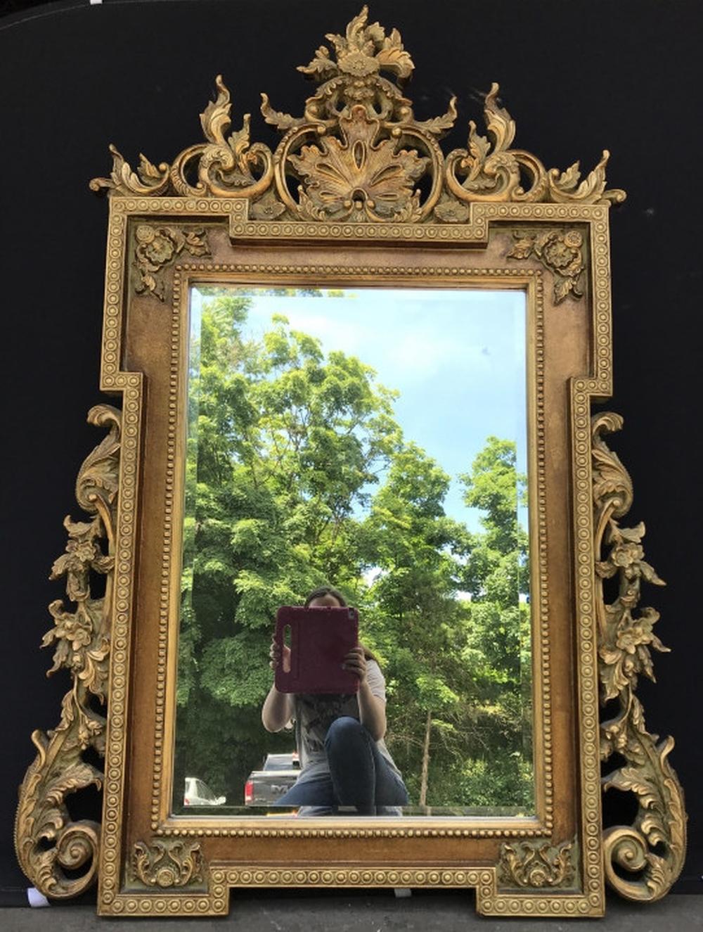 Grand Beveled Mirror W Ornate Floral Pediment