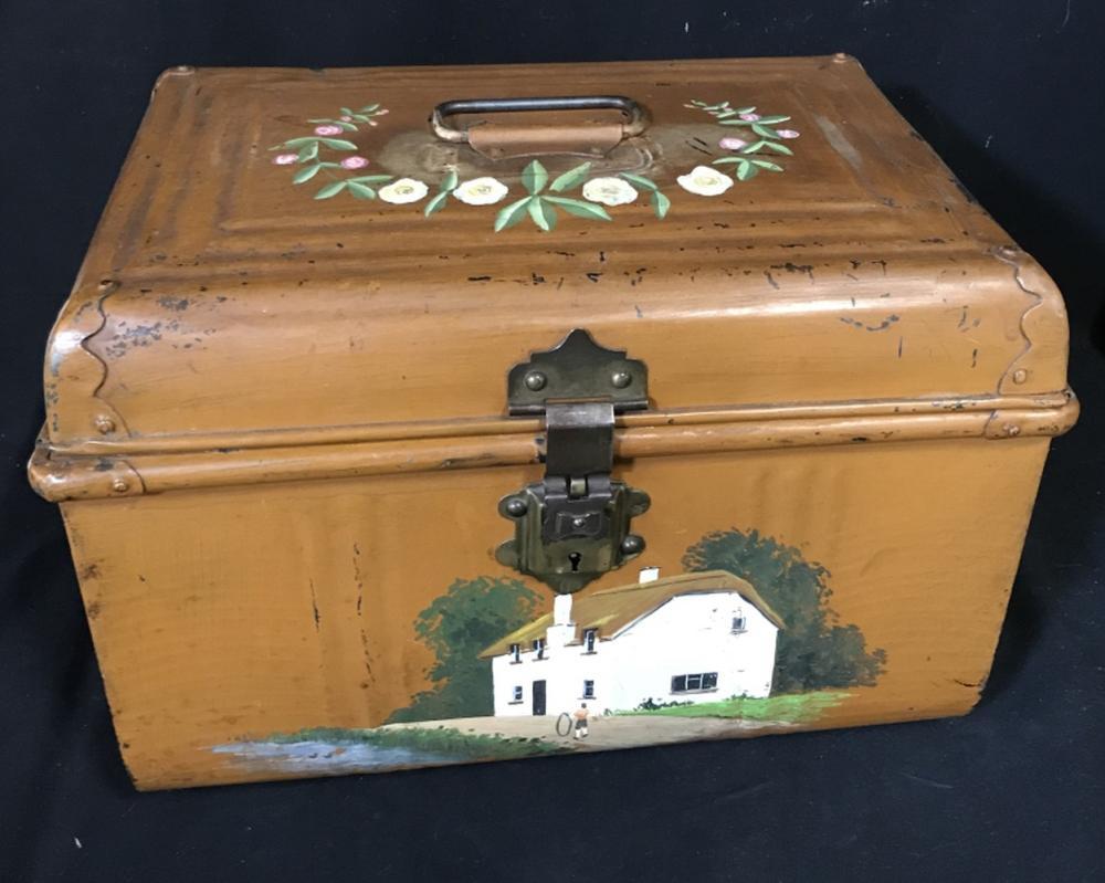 Vintage Hand Painted Metal Storage Box