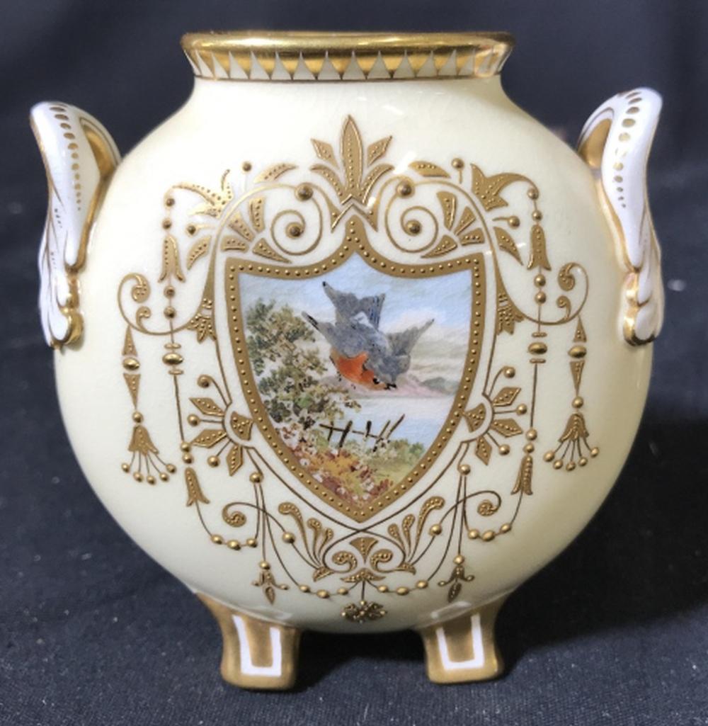 Pair Hand Painted Coalport Porcelain Vessels