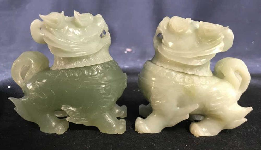 Pair Jadeite Carved Temple Lions Bottles