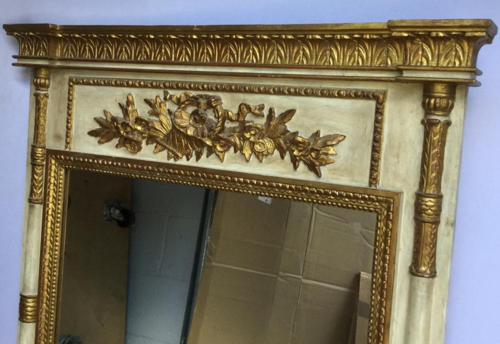 Grand French Provincial Painted Trumeau Mirror