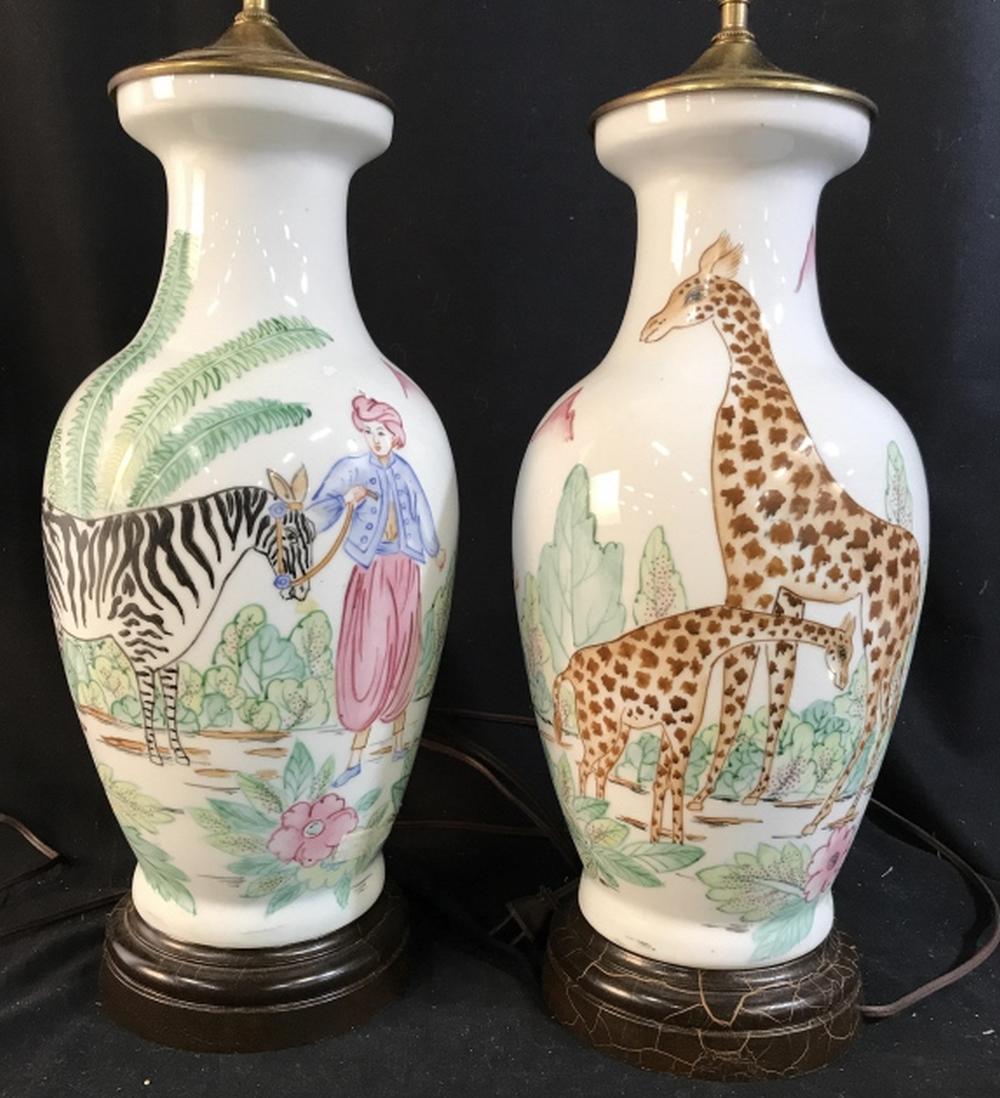 Pair Animal Theme Porcelain Lamps