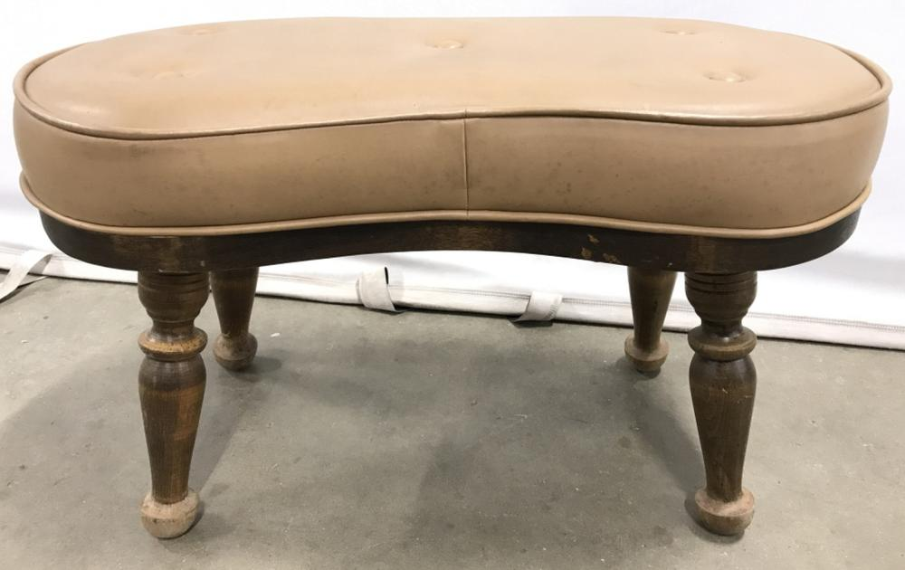 Leather Footrest W Carved Wooden Legs