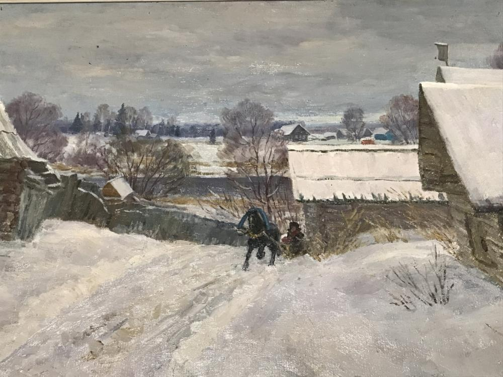 Signed Russian Oil On Canvas, Winter Landscape