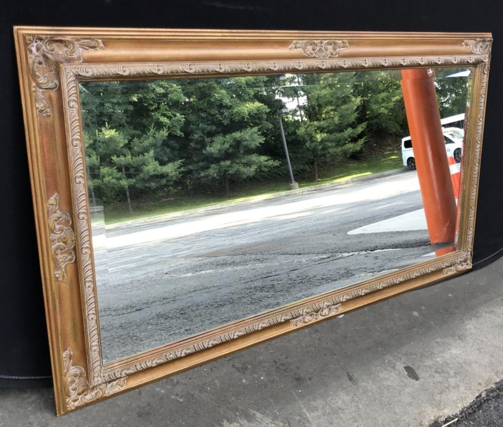Beveled Mantel Mirror in Carved Frame