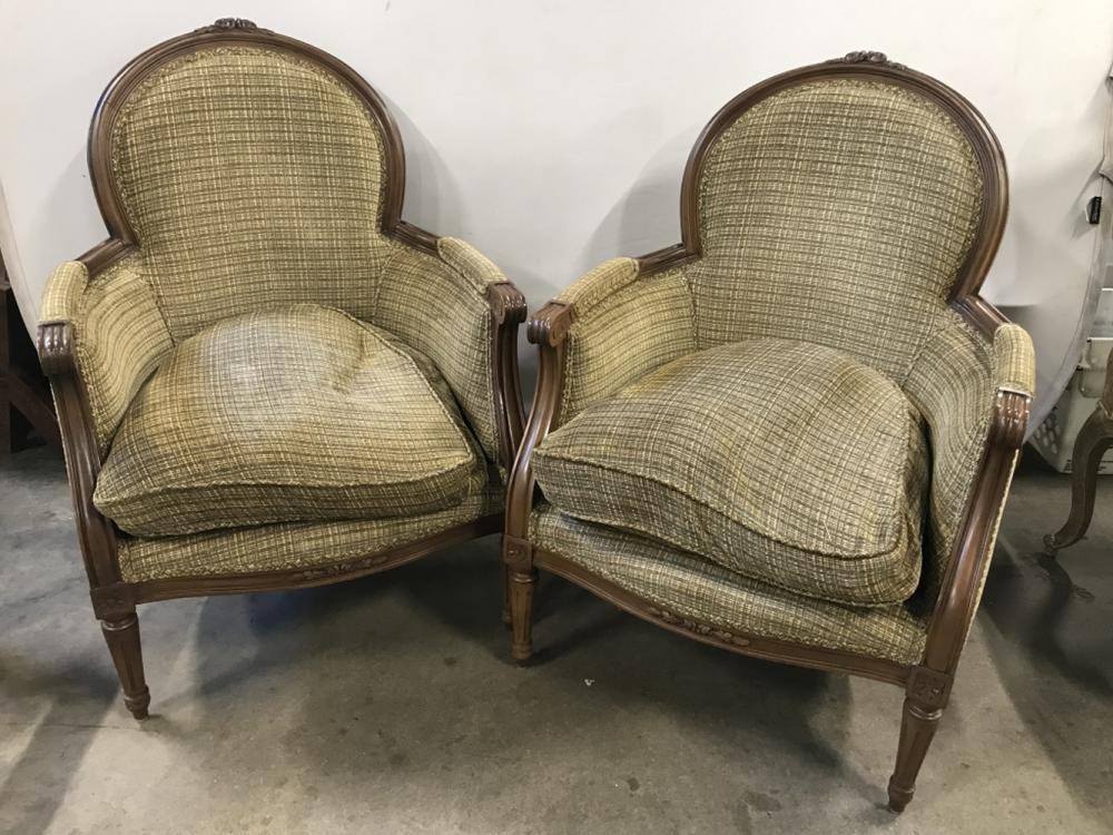 Pair Bergere Style Curved Back Arm Chairs
