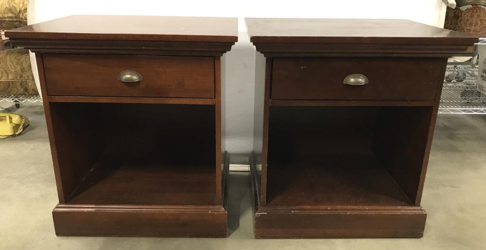 Pair CRATE & BARREL Wooden Bedside Stands