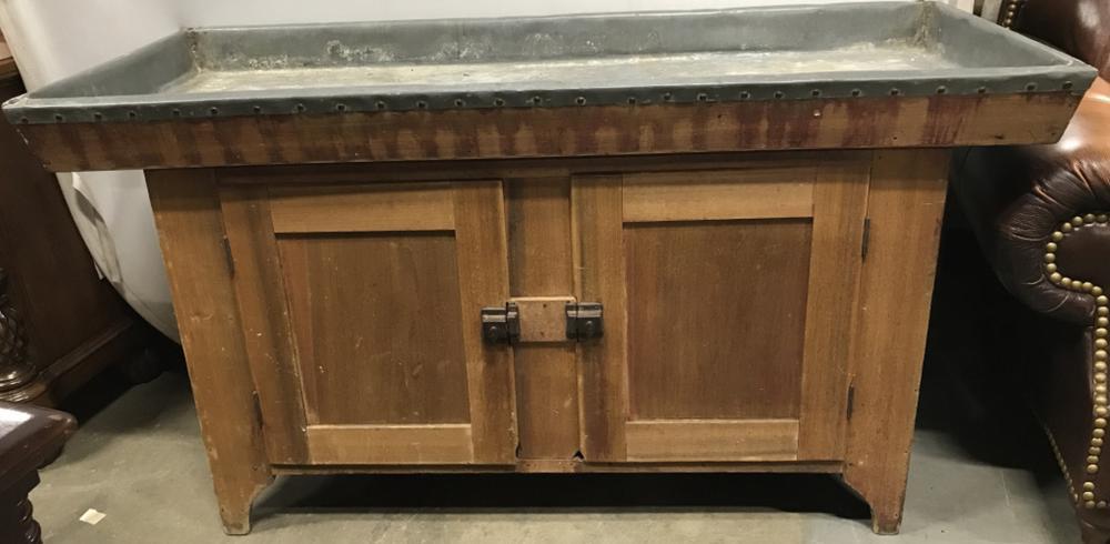 Vintage Wooden Cabinet With Metal Top