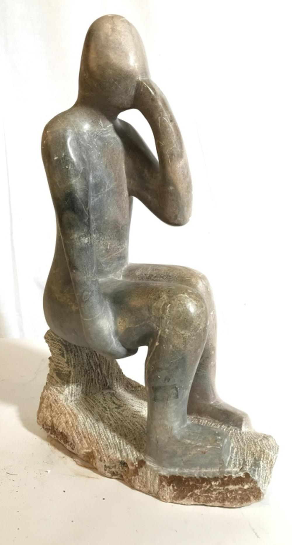 Marble Sculpture Of Seated Figural