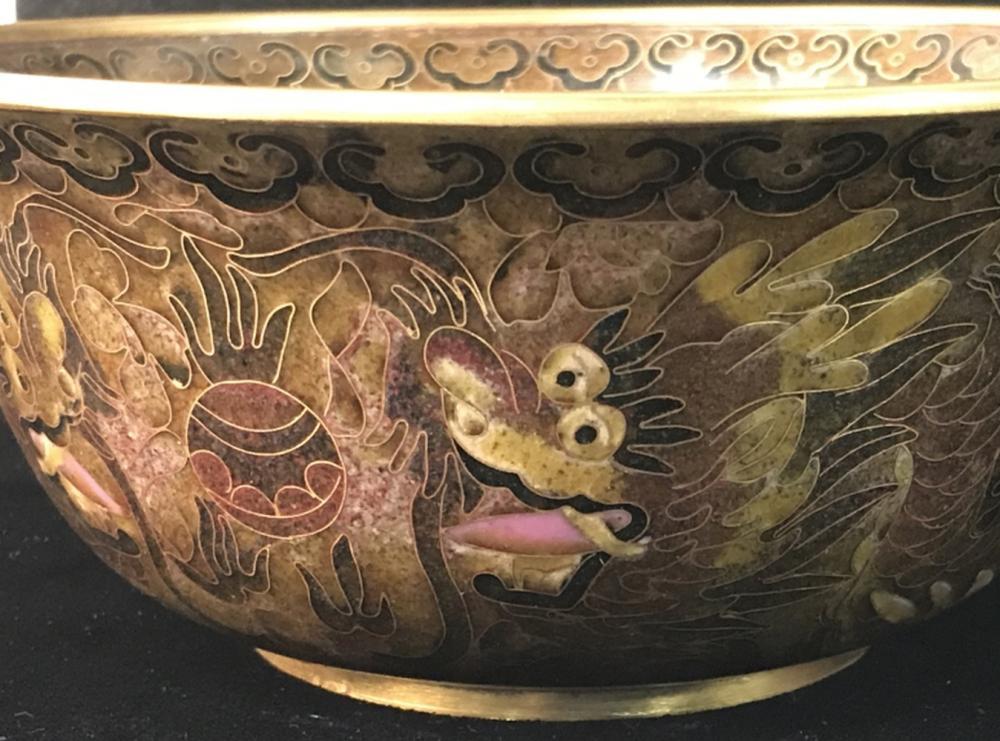 Cloisonné Asian Bowl W/ Dragon Motif