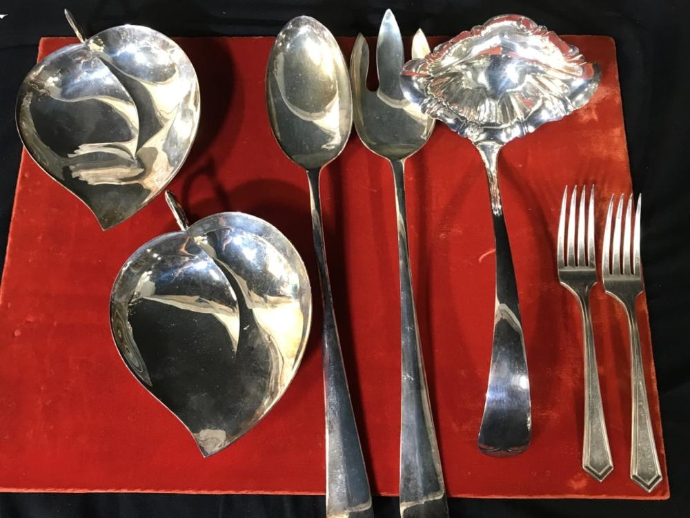 Lot 7 Vintage Sheffield silver Plated Serving Ware