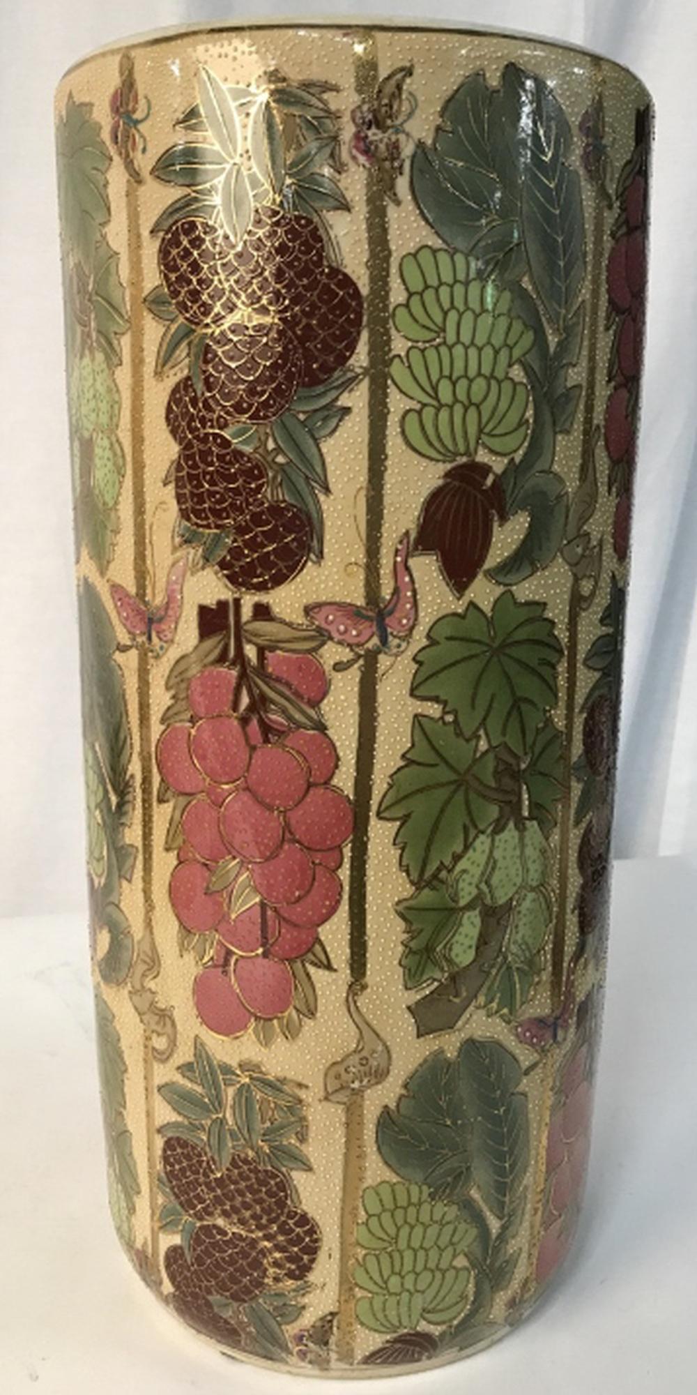 Vintage Hand Painted Porcelain Umbrella Holder