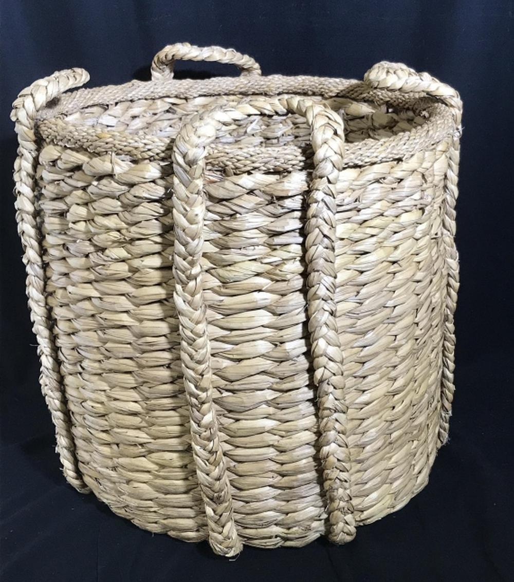 Vintage Giant Grass Woven Basket Tub
