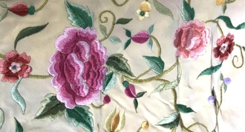 Embroidered Floral Shawl with Tassels