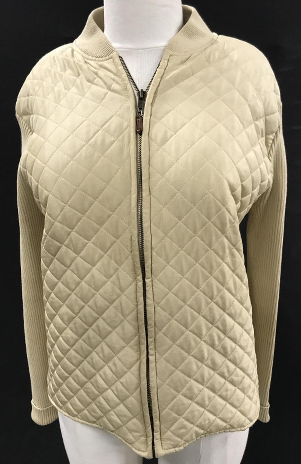 Designer J. McLaughlin Quilted Silk Zip Jacket
