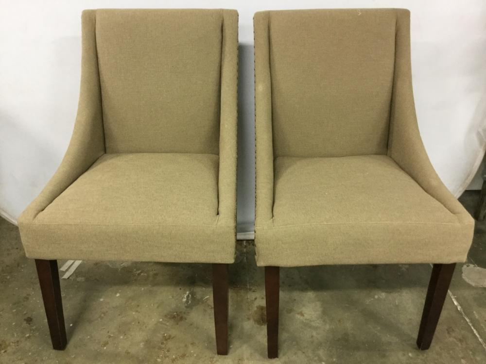Pair Beige Toned Studded Side Chairs
