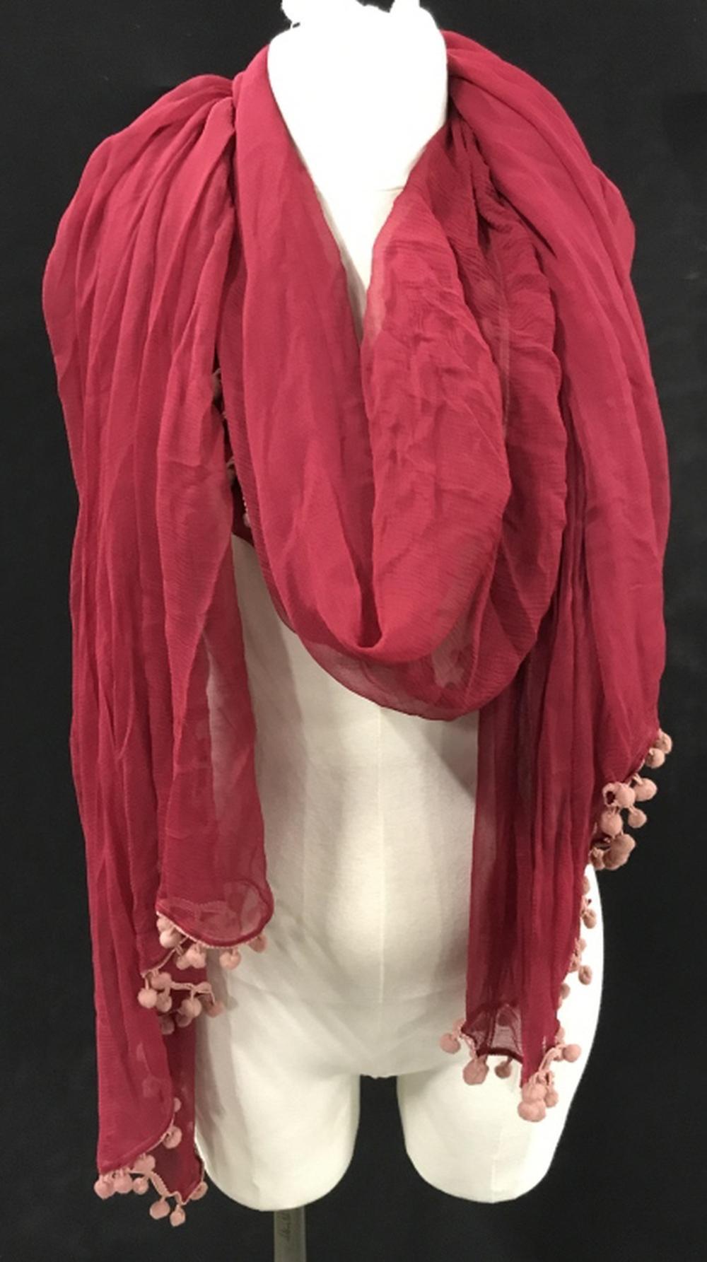 Vintage Red Silk Chiffon Scarf/ Wrap