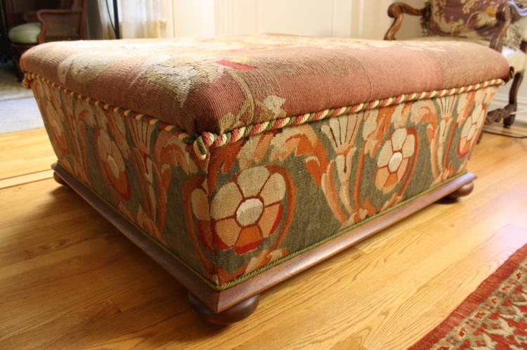 Upholstered ottoman antique london tapestry carpet for Furniture auctions london