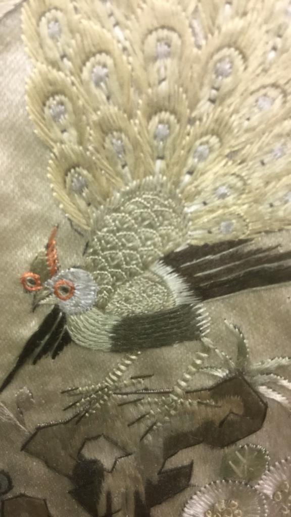 Asian Bird Embroidery on Silk Framed