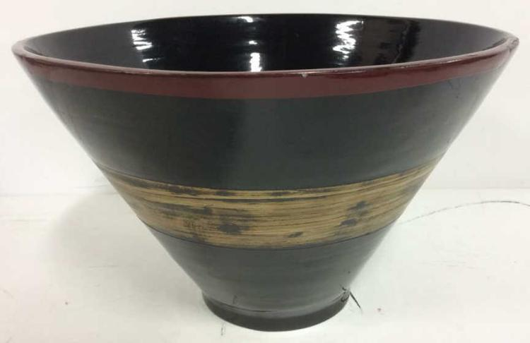 Cone Shaped Lacquered Asian Bowl