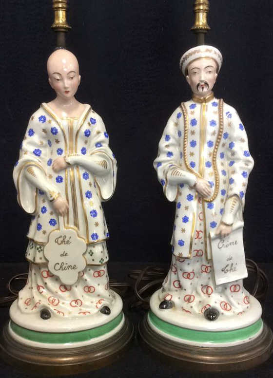 Lot 2 Porcelain Asian Figural Lamps