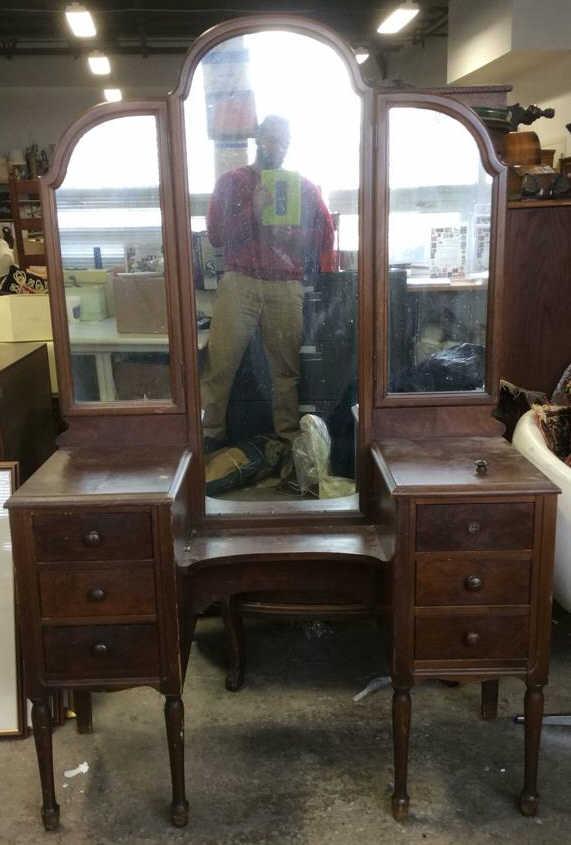 Antique Carved Wooden Bedroom Vanity